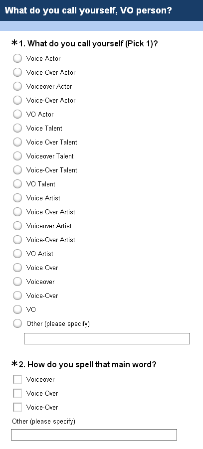 VO Names Survey